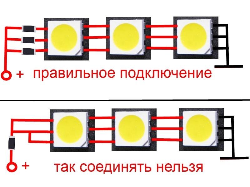 Подключение светодиодов 5050