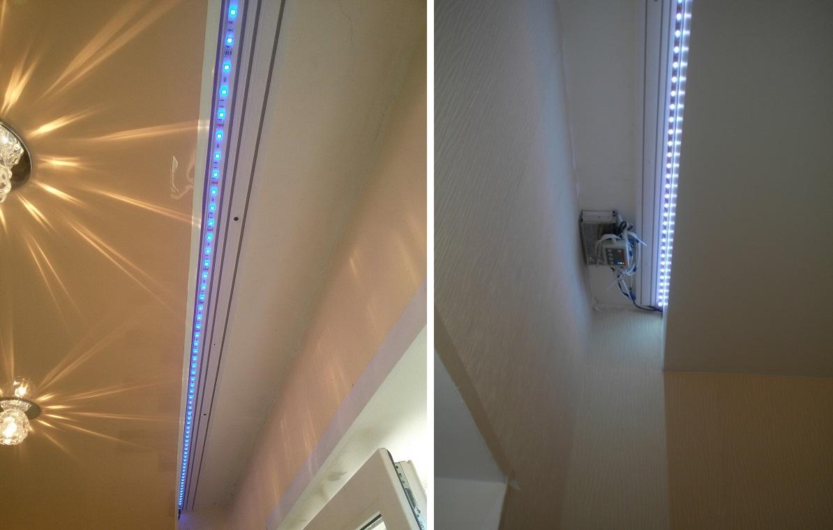 монтаж подсветки штор